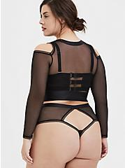Plus Size Black Mesh Cold Shoulder Long Sleeve Under-It-All Crop Top, RICH BLACK, alternate