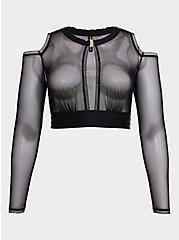 Plus Size Black Mesh Cold Shoulder Long Sleeve Under-It-All Crop Top, RICH BLACK, hi-res