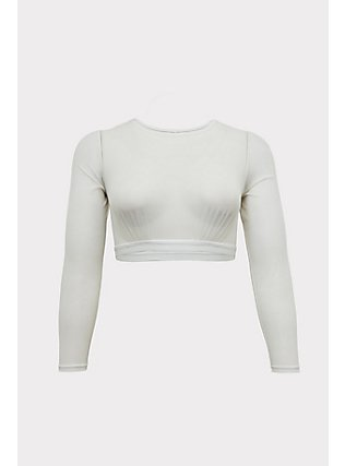 White Mesh Long Sleeve Under-It-All Crop Top, , flat