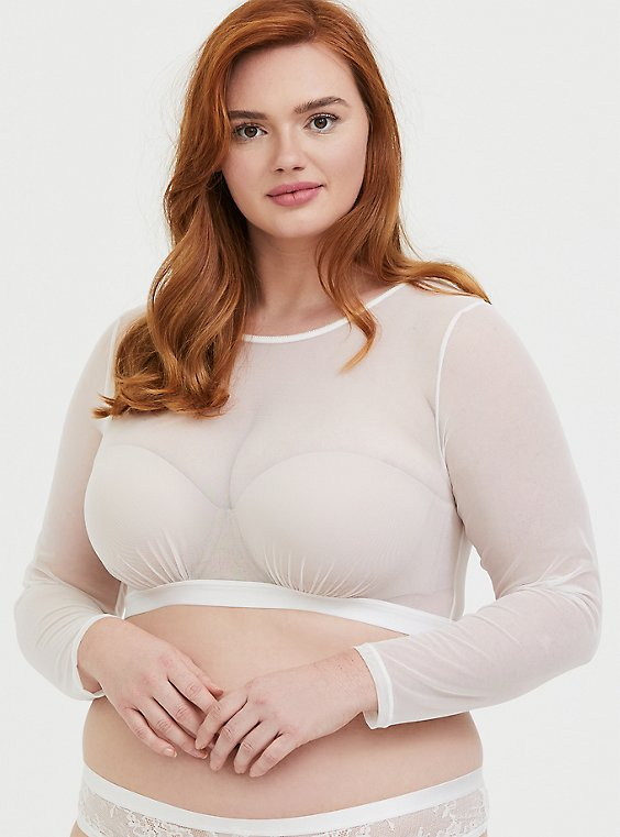 Plus Size White Mesh Long Sleeve Under-It-All Crop Top, , hi-res