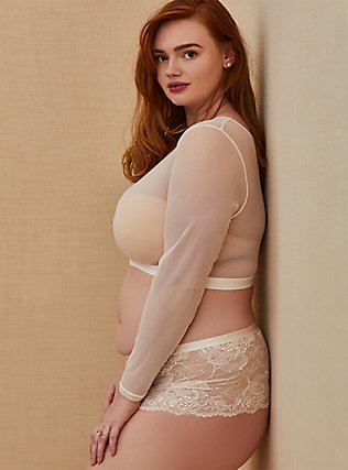 White Mesh Long Sleeve Under-It-All Crop Top, , pdped