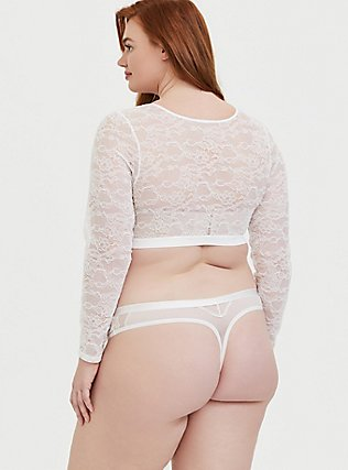 Plus Size White Lace Long Sleeve Under-It-All Crop Top, , alternate