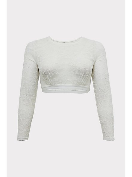 White Lace Long Sleeve Under-It-All Crop Top, , hi-res