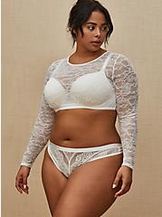 Plus Size White Lace Long Sleeve Under-It-All Crop Top, , hi-res