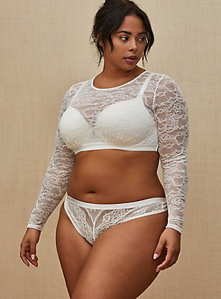 Plus Size White Lace Long Sleeve Under-It-All Crop Top, , pdped