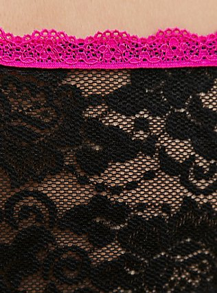 Plus Size Hot Pink & Black Lace Bandeau, RICH BLACK, alternate