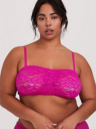 Plus Size Hot Pink Lace Bandeau, SUPERSONIC, alternate
