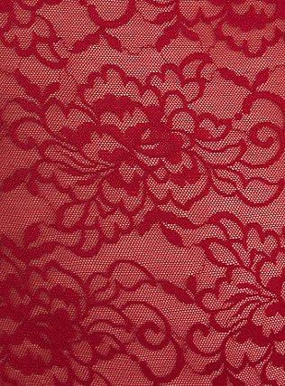 Red Lace Off Shoulder Sheer Bodysuit, , alternate