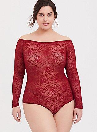 Red Lace Off Shoulder Sheer Bodysuit, , hi-res