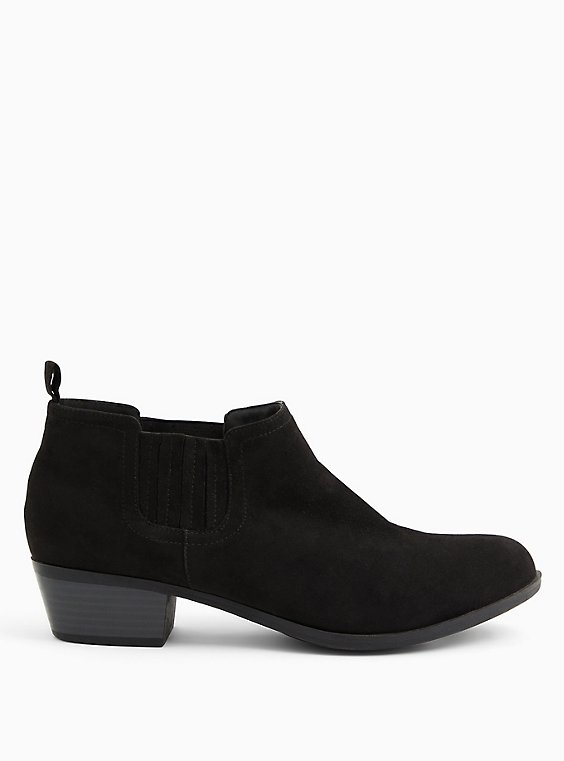 Black Faux Suede Chelsea Bootie (WW), BLACK, hi-res