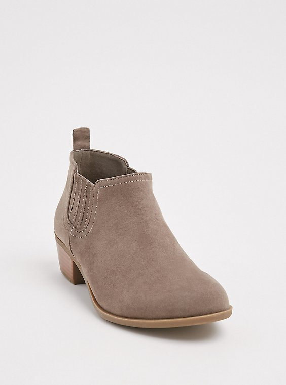 Plus Size Taupe Faux Suede Chelsea Bootie (WW), , hi-res