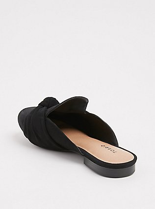 Black Faux Suede Bow Loafer Mule (WW), BLACK, alternate