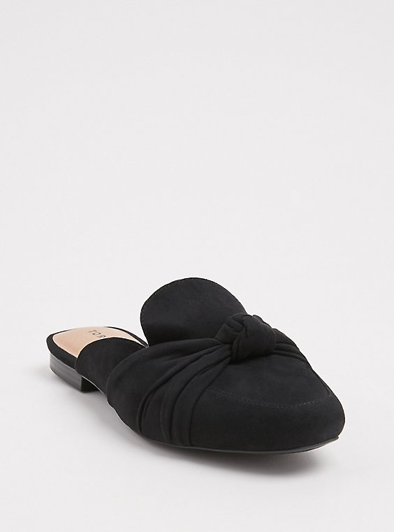 Black Faux Suede Bow Loafer Mule (WW), , hi-res