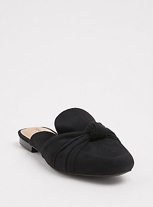 Black Faux Suede Bow Loafer Mule (WW), BLACK, hi-res