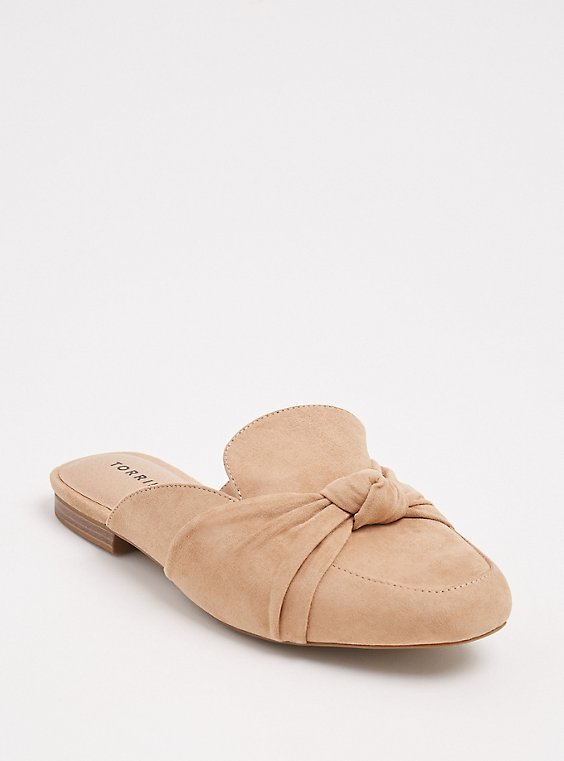Plus Size Tan Faux Suede Bow Loafer Mule (WW), , hi-res