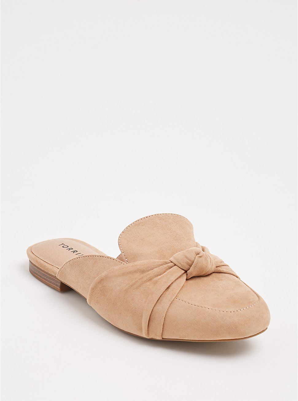 Tan Faux Suede Bow Loafer Mule (WW), YELLOW, hi-res