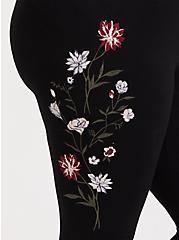Premium Legging - Floral Embroidered Black, BLACK, alternate