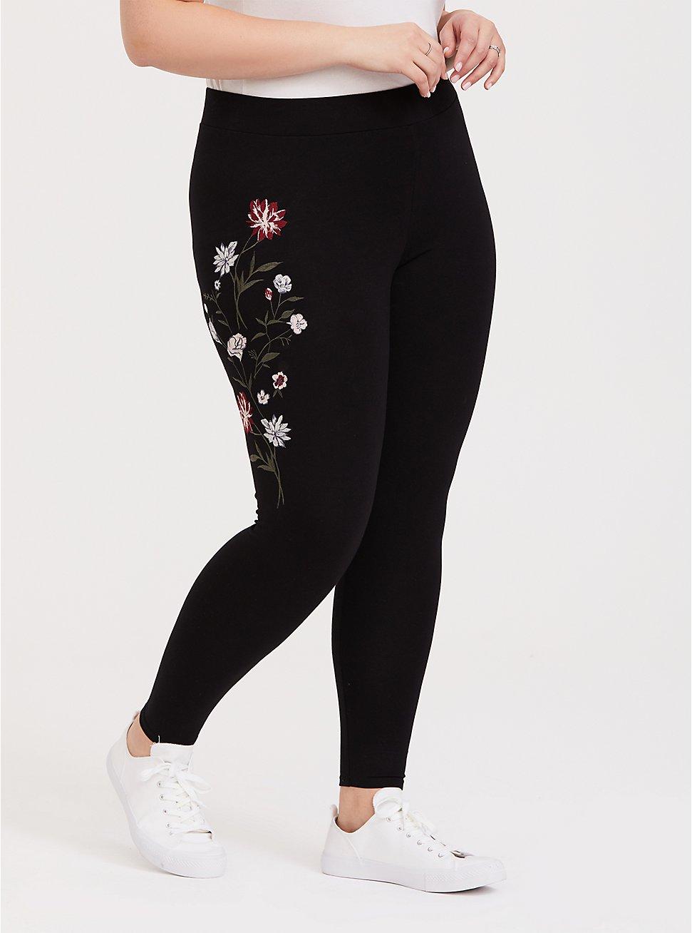 Premium Legging - Floral Embroidered Black, BLACK, hi-res
