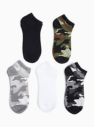 Plus Size Camo Socks Pack - Pack of 5, MULTI, hi-res
