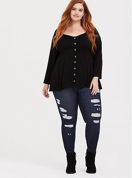 Plus Size Black Challis Button Fit & Flare Top, DEEP BLACK, alternate
