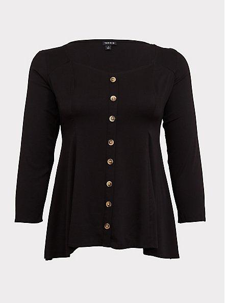 Plus Size Black Challis Button Fit & Flare Top, DEEP BLACK, hi-res