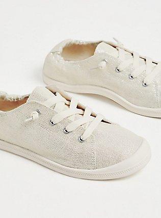 Plus Size White Metallic Ruched Sneaker (WW), SILVER, alternate