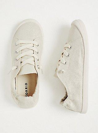 Plus Size White Metallic Ruched Sneaker (WW), SILVER, hi-res