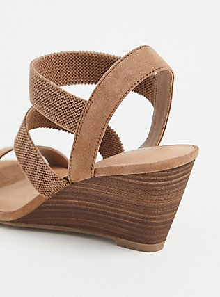 Taupe Faux Suede Elastic Strap Wedge Heel (WW), TAN/BEIGE, alternate