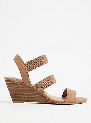 Taupe Faux Suede Elastic Strap Wedge Heel (WW), TAN/BEIGE, hi-res