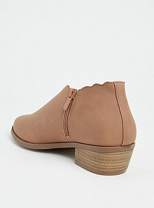 Taupe Brushed Faux Leather Scalloped Bootie (WW), COGNAC, alternate