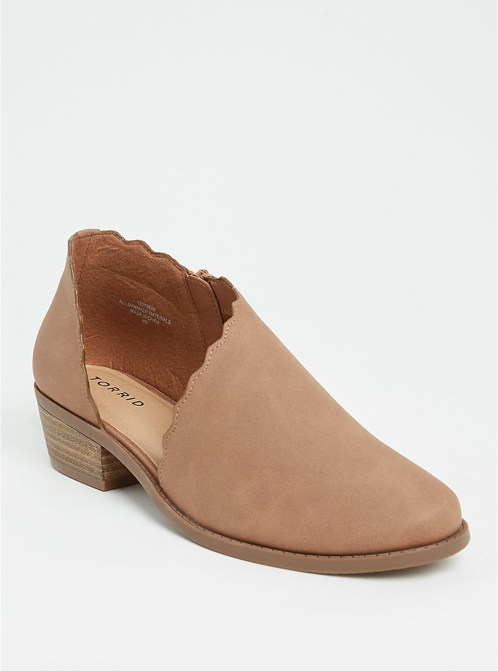Taupe Brushed Faux Leather Scalloped Bootie (WW), COGNAC, hi-res