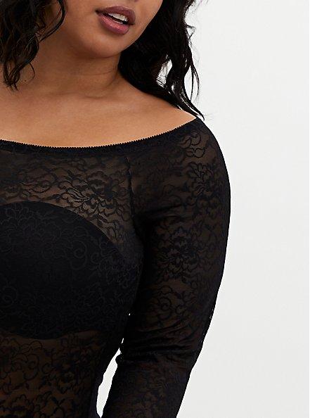 Black Lace Off Shoulder Bodysuit , RICH BLACK, alternate