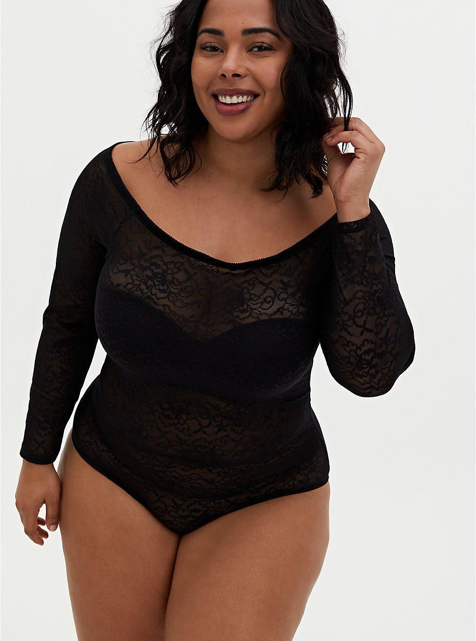 Black Lace Off Shoulder Bodysuit , RICH BLACK, hi-res