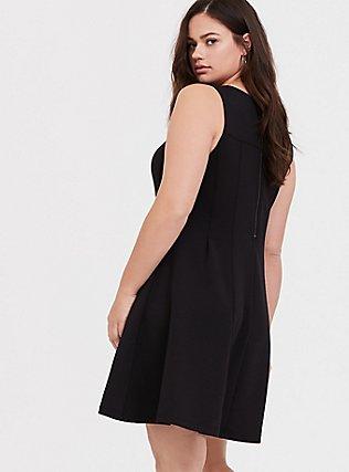 Black Scuba Knit Fluted Dress, DEEP BLACK, alternate