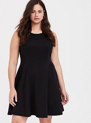Black Scuba Knit Fluted Dress, DEEP BLACK, hi-res