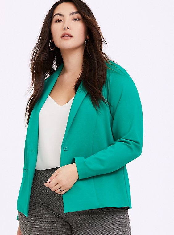 Emerald Green Premium Ponte Classic Blazer, , hi-res