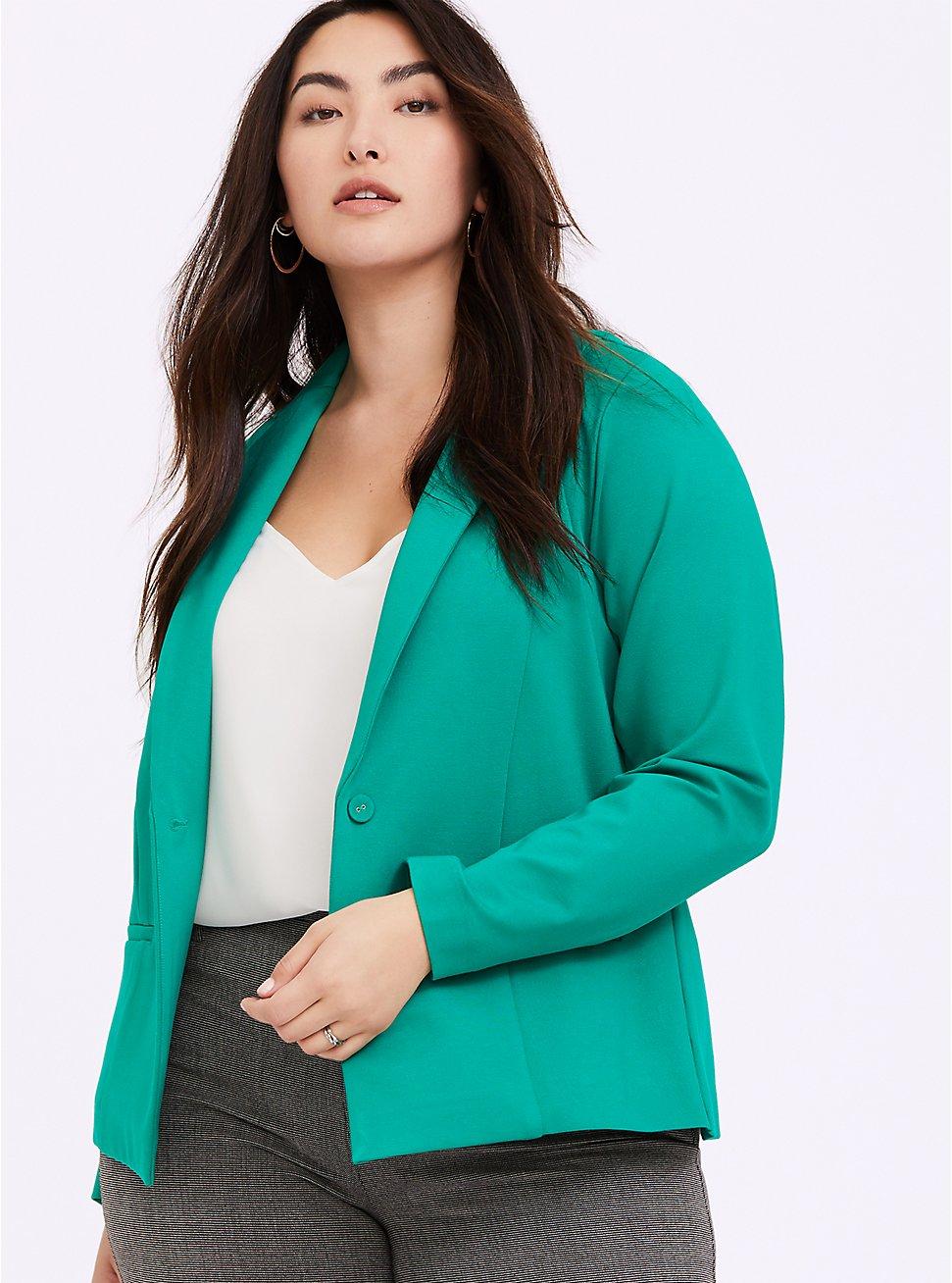Emerald Green Premium Ponte Classic Blazer, GREEN, hi-res