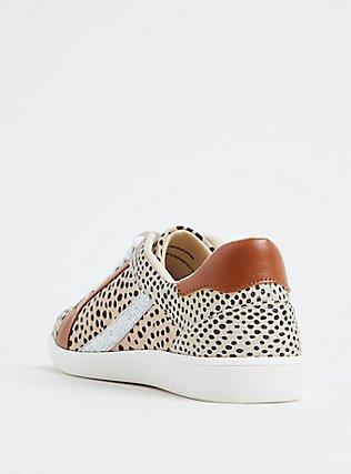 Plus Size Tan Animal Print Mixed Media Lace-Up Sneaker (WW), TAN/BEIGE, alternate