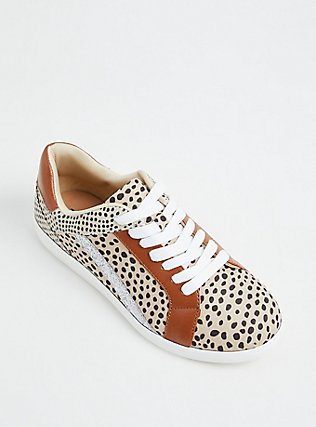 Tan Animal Print Mixed Media Lace-Up Sneaker (WW), TAN/BEIGE, alternate