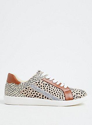 Plus Size Tan Animal Print Mixed Media Lace-Up Sneaker (WW), TAN/BEIGE, hi-res
