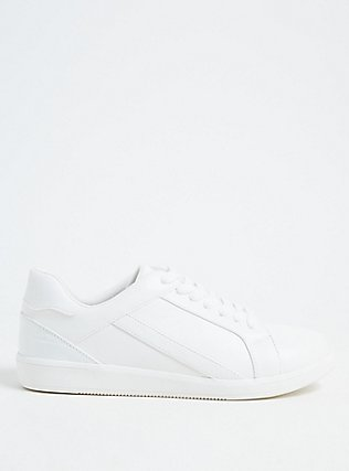 White Faux Leather Sneaker (WW), WHITE, hi-res