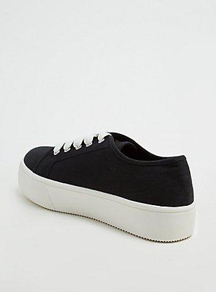 Black Canvas Lace-Up Platform Sneaker (WW), BLACK, alternate