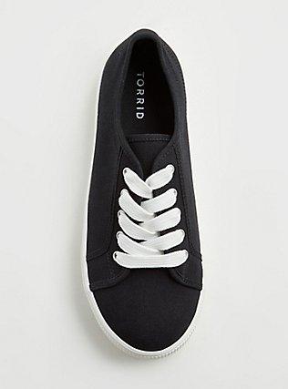 Plus Size Black Canvas Lace-Up Platform Sneaker (WW), BLACK, alternate