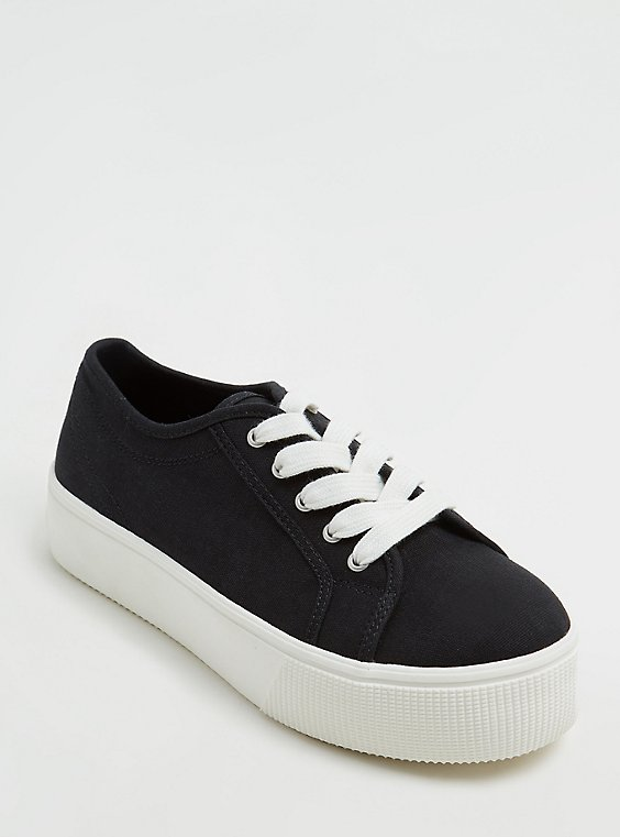 Plus Size Black Canvas Lace-Up Platform Sneaker (WW), , hi-res