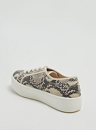Snakeskin Print Faux Leather Lace-Up Platform Sneaker (WW), ANIMAL, alternate