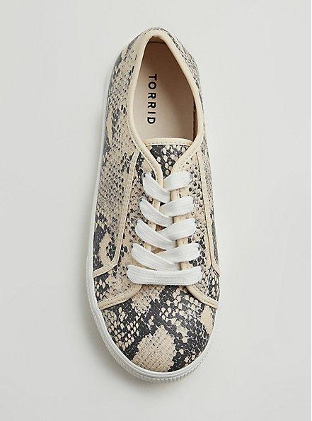Plus Size Snakeskin Print Faux Leather Lace-Up Platform Sneaker (WW), ANIMAL, alternate