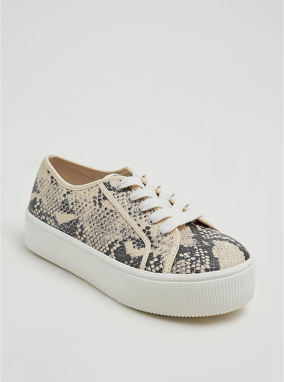 Plus Size Snakeskin Print Faux Leather Lace-Up Platform Sneaker (WW), ANIMAL, hi-res