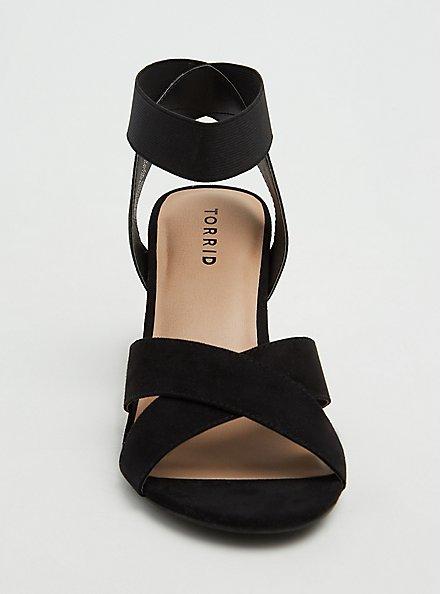 Plus Size Black Faux Suede Crisscross Stretch Ankle Strap Tapered Heel (WW), BLACK, alternate