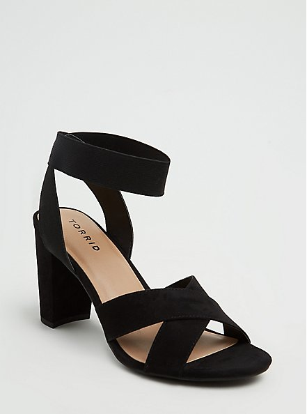Plus Size Black Faux Suede Crisscross Stretch Ankle Strap Tapered Heel (WW), BLACK, hi-res