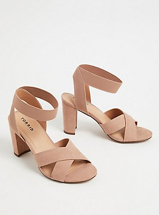 Taupe Faux Suede Crisscross Stretch Strap Heel (WW), TAN/BEIGE, alternate